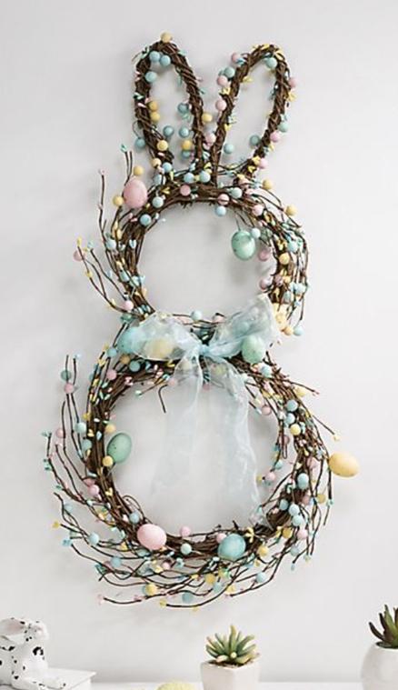 Elegant bunny wreath for Easter