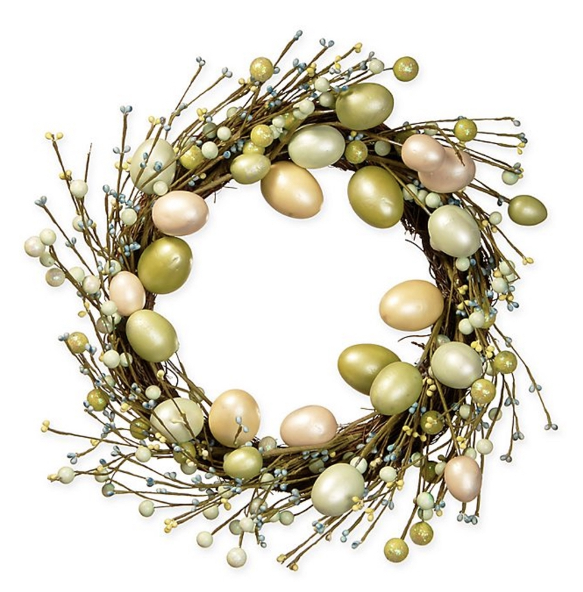 Gold and green egg wreath for front door