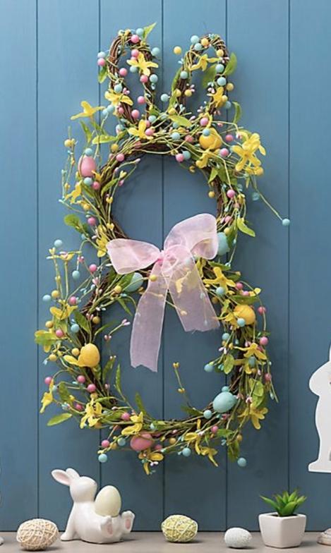 Beautiful Easter bunny wreath for front door