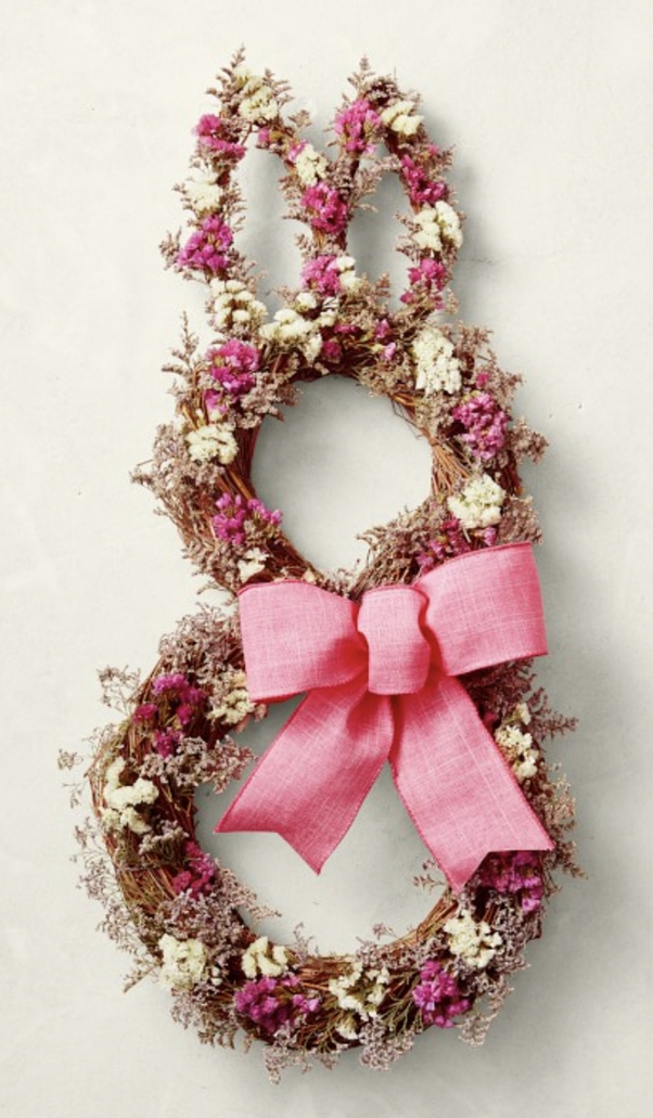 Pink Easter bunny wreath with ribbon