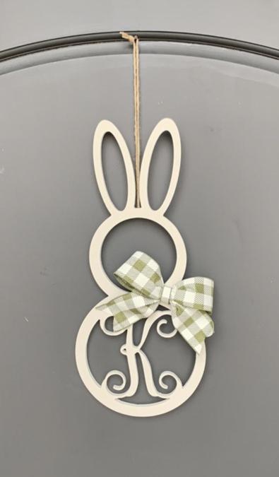Wooden bunny wreath with monogram