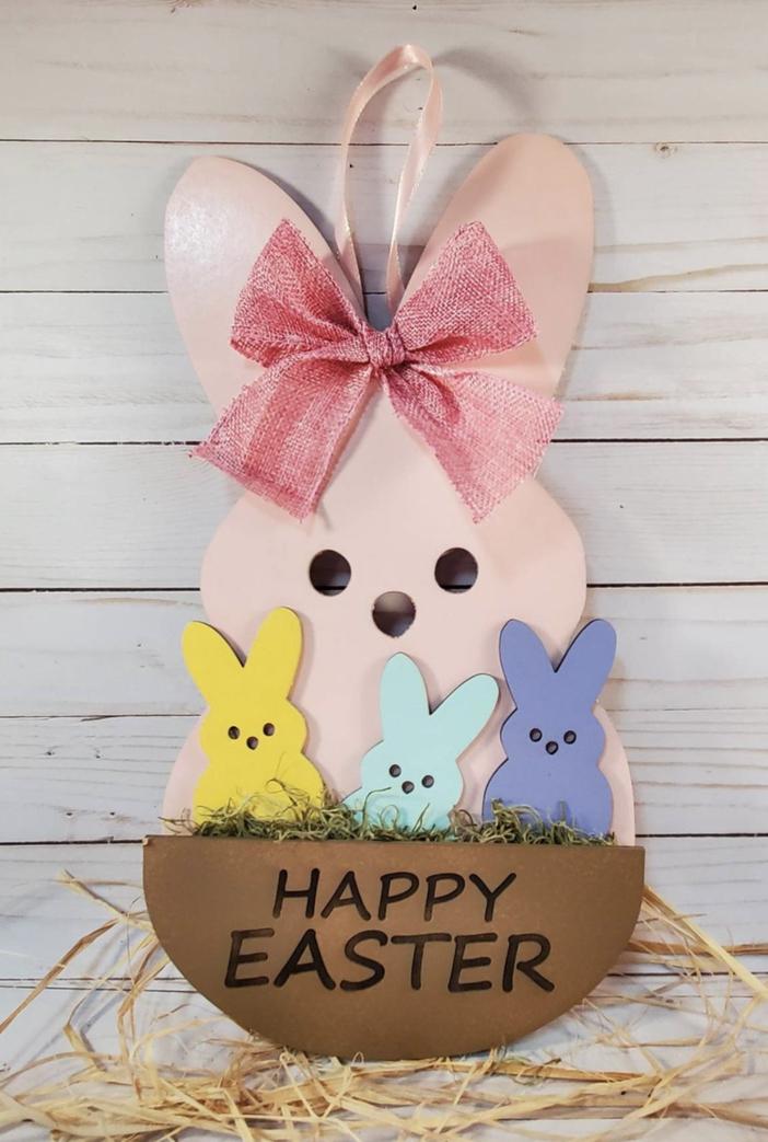 Pink bunny Easter door hanger