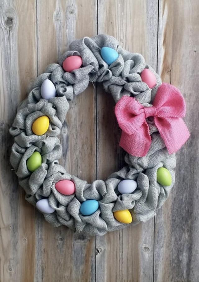 Grey burlap Easter wreaths with eggs