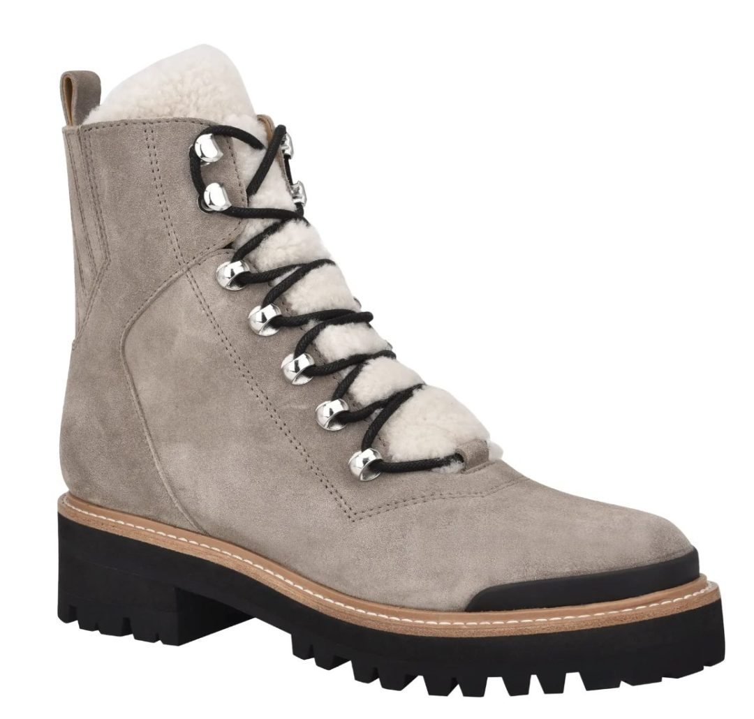 Taupe suede and shearling walking lace up boots