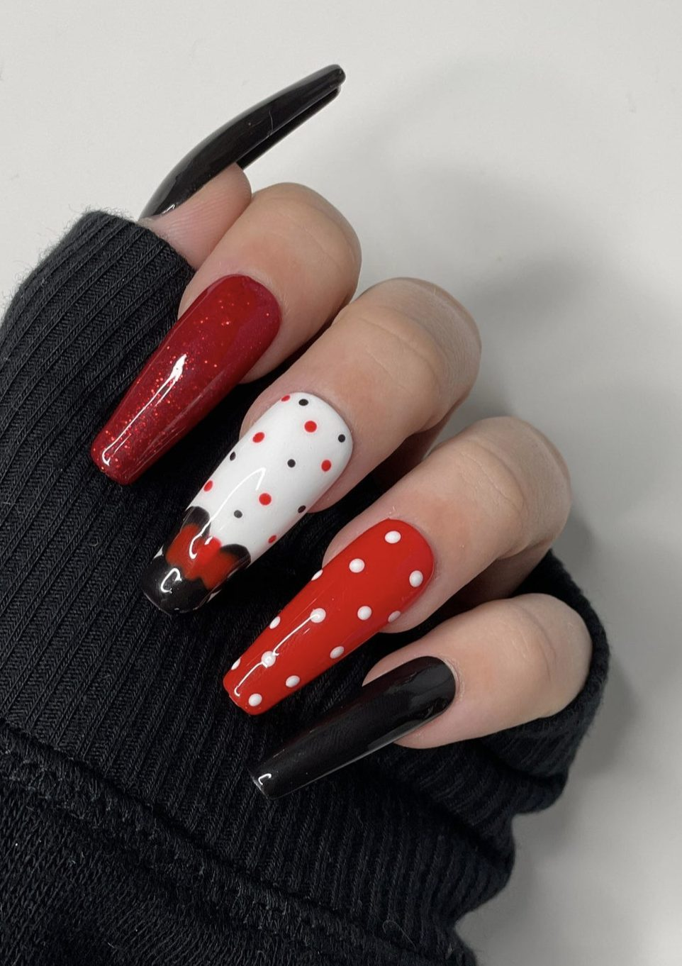 Long black and red Mickey Mouse Disney nails