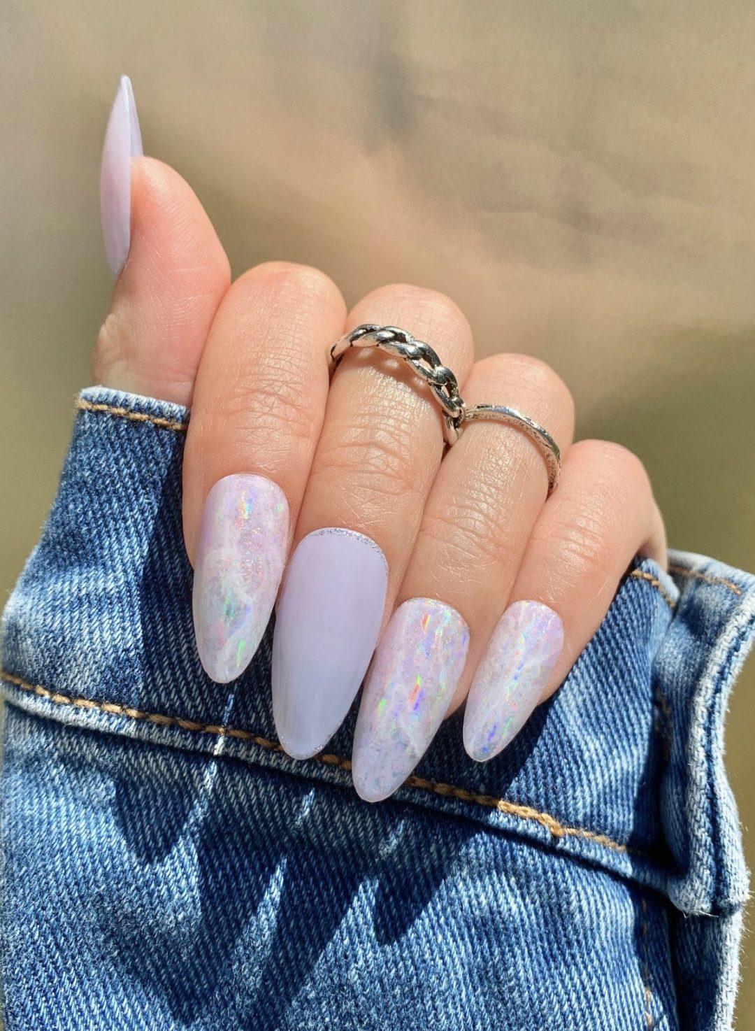 Holographic LavenderSpring Nails