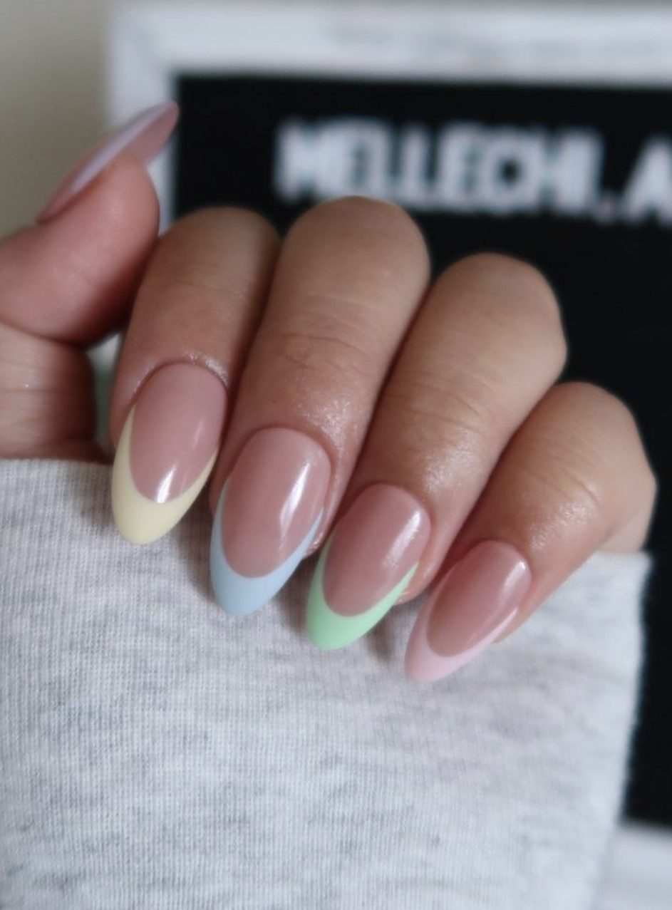 Short pastel rainbow French tip nails