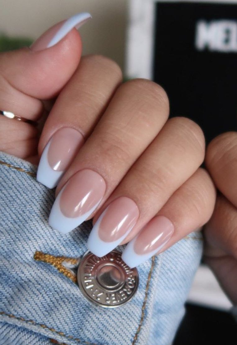 Baby blue almond French nails