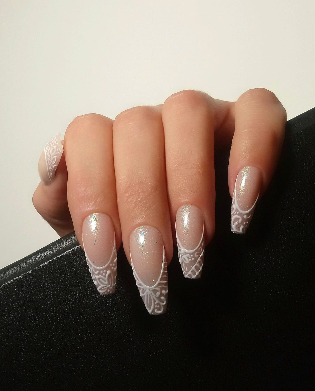 Cute white lace wedding nails with French tips