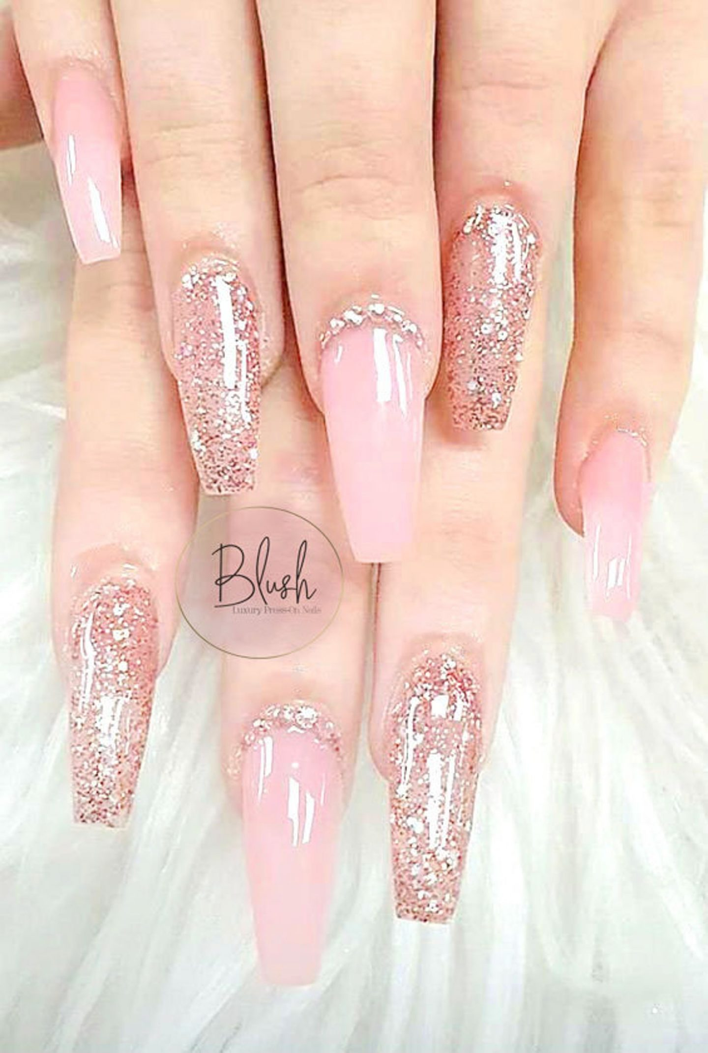 Long coffin pink wedding nails with glitter