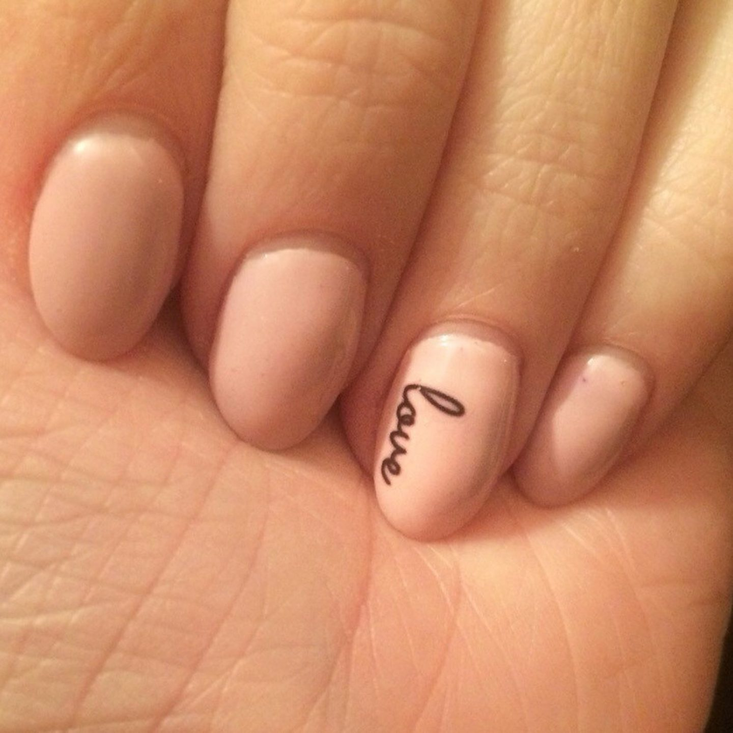 Short nude nails for the bride
