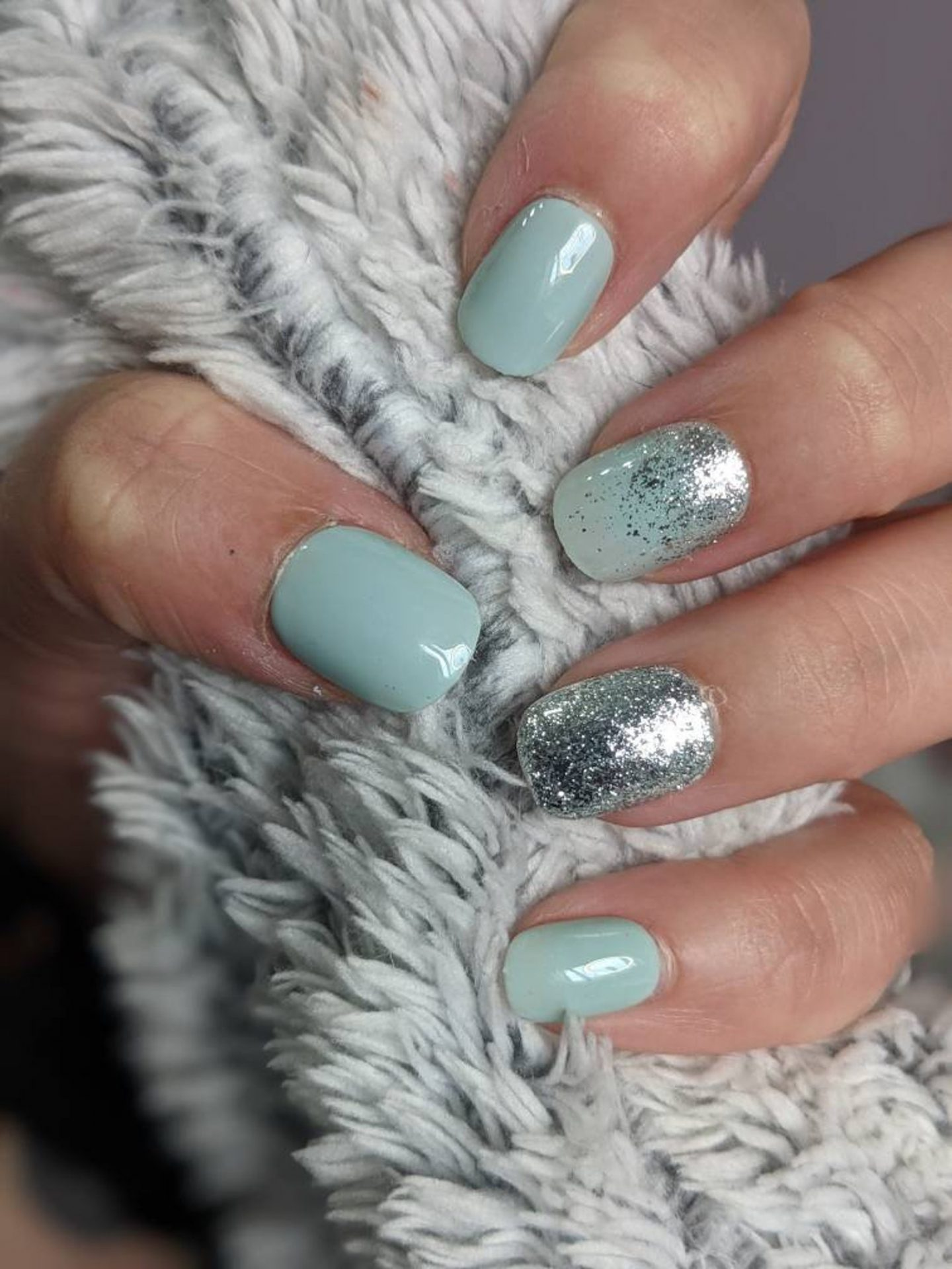 Short duck egg nails with silver glitter