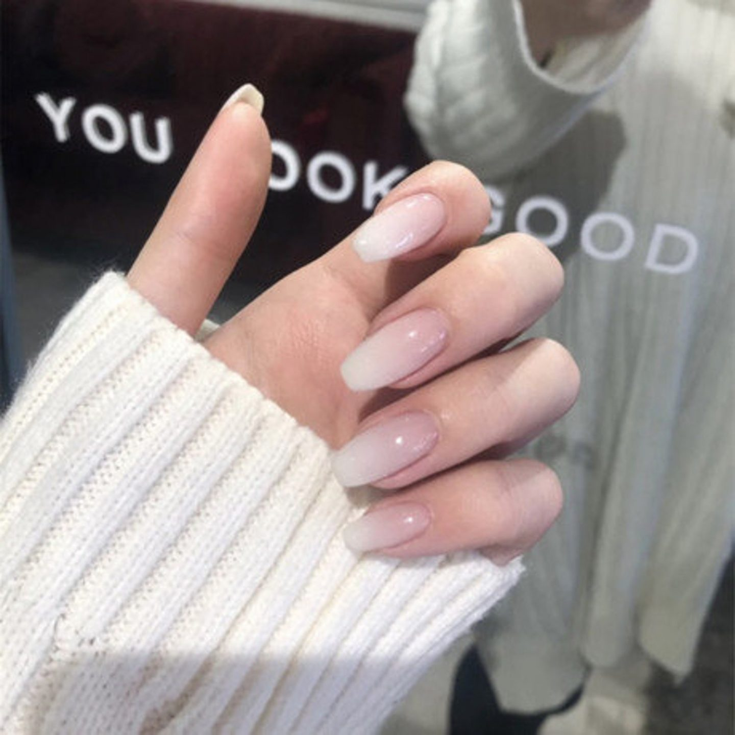 White and pink ombre wedding nails
