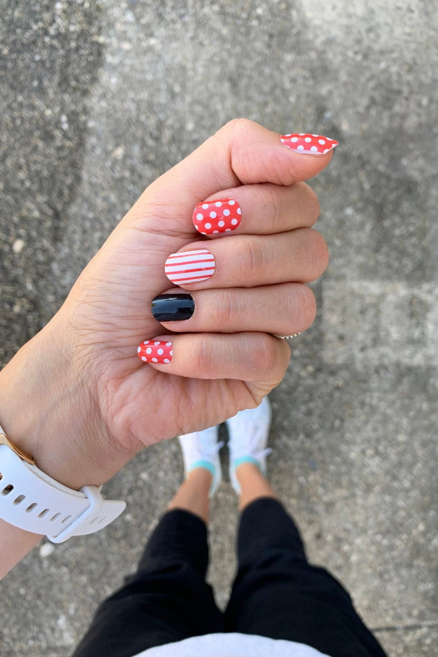 Cute red Mickey Mouse Disney nails