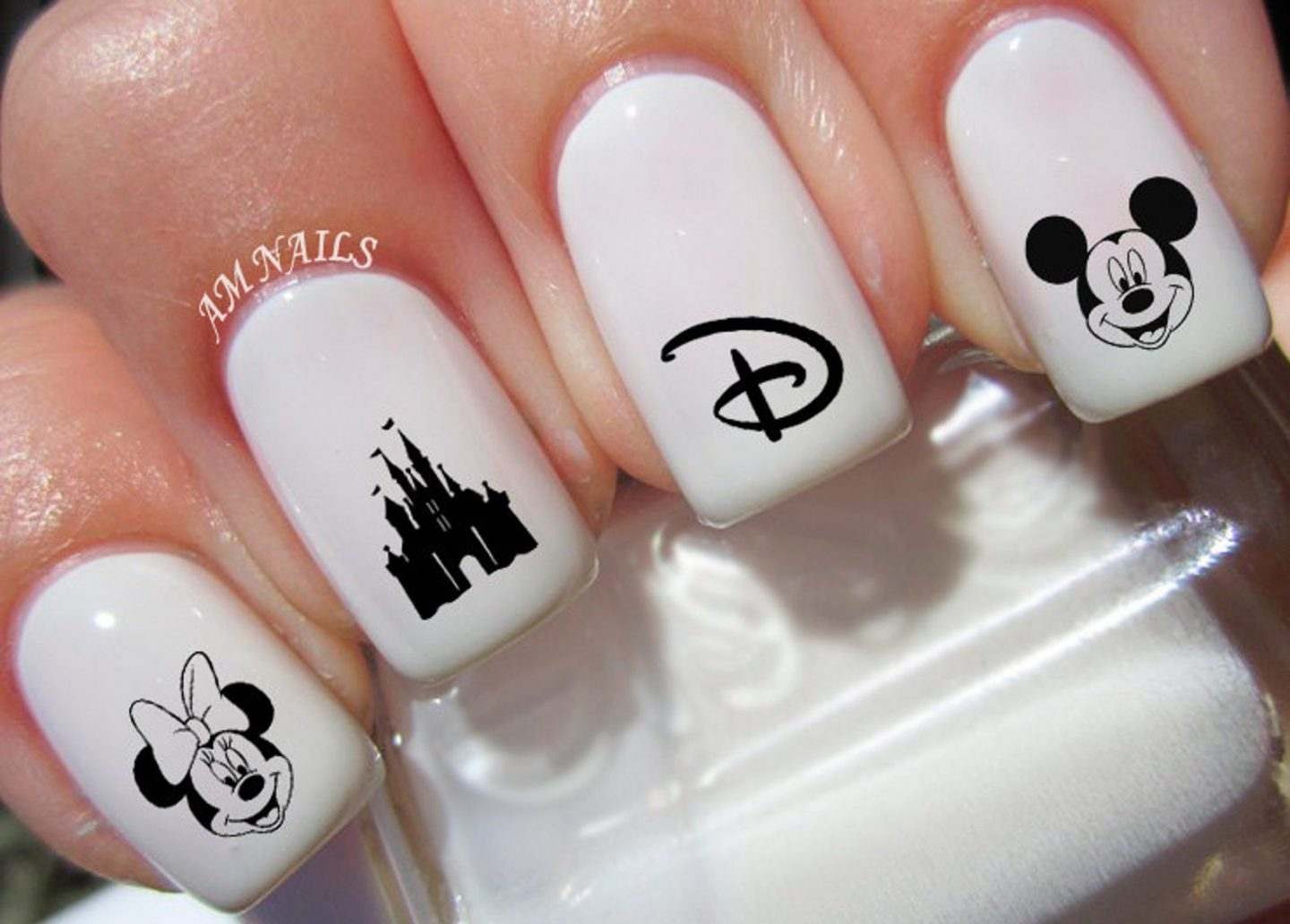 Cute white Mickey Mouse Disney nails
