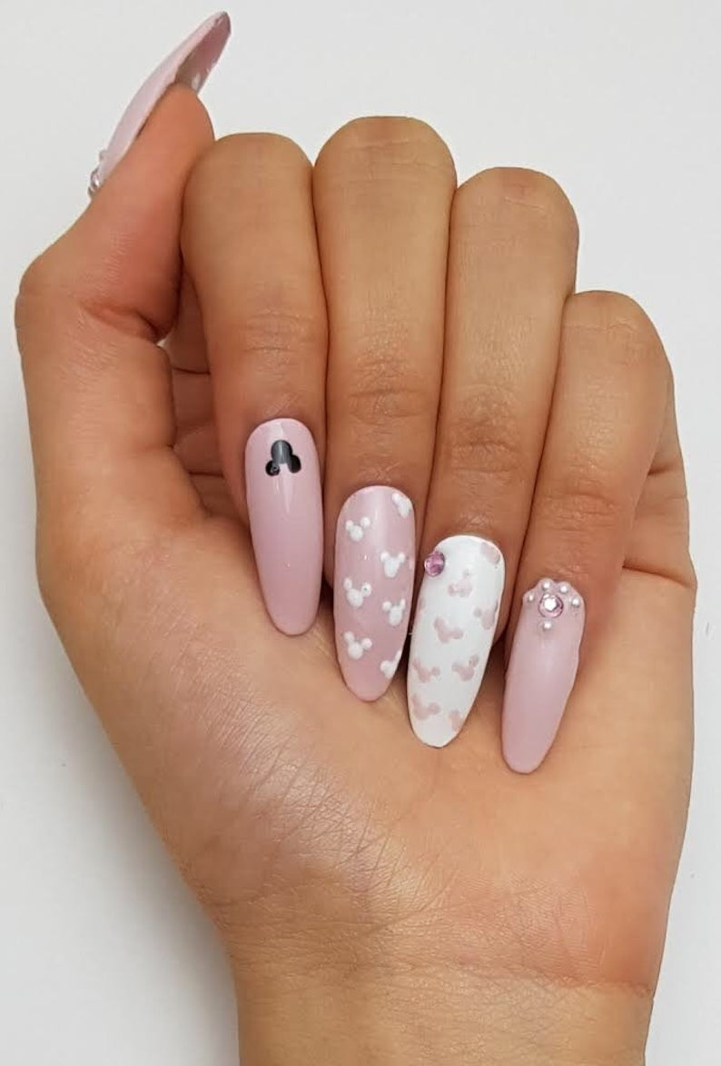 Cute white and pink Mickey Mouse Disney nails
