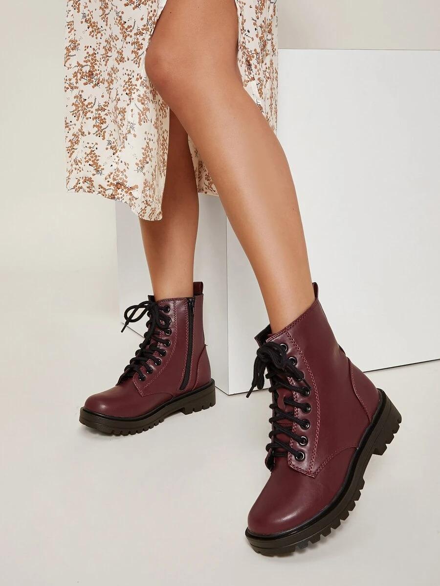 Burgundy Doc Martens look alike boots