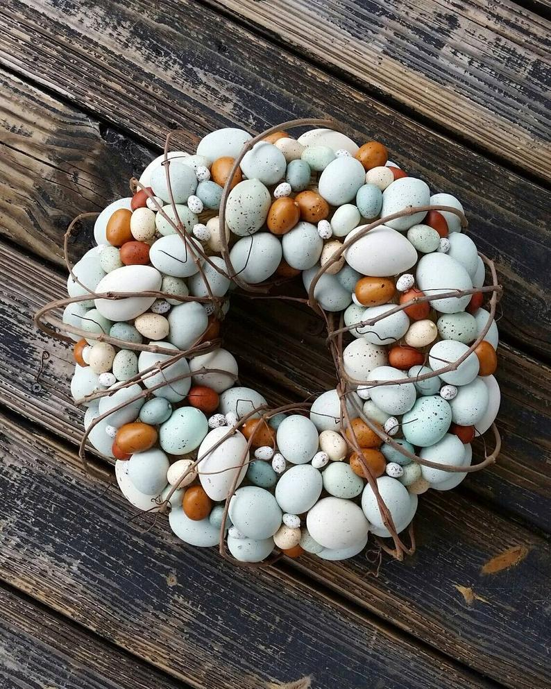 Easter wreaths for front door with eggs