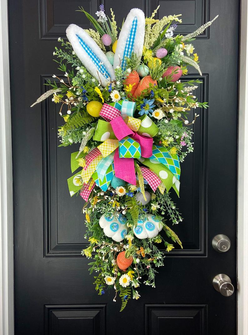 Flower bunny wreath with ribbons