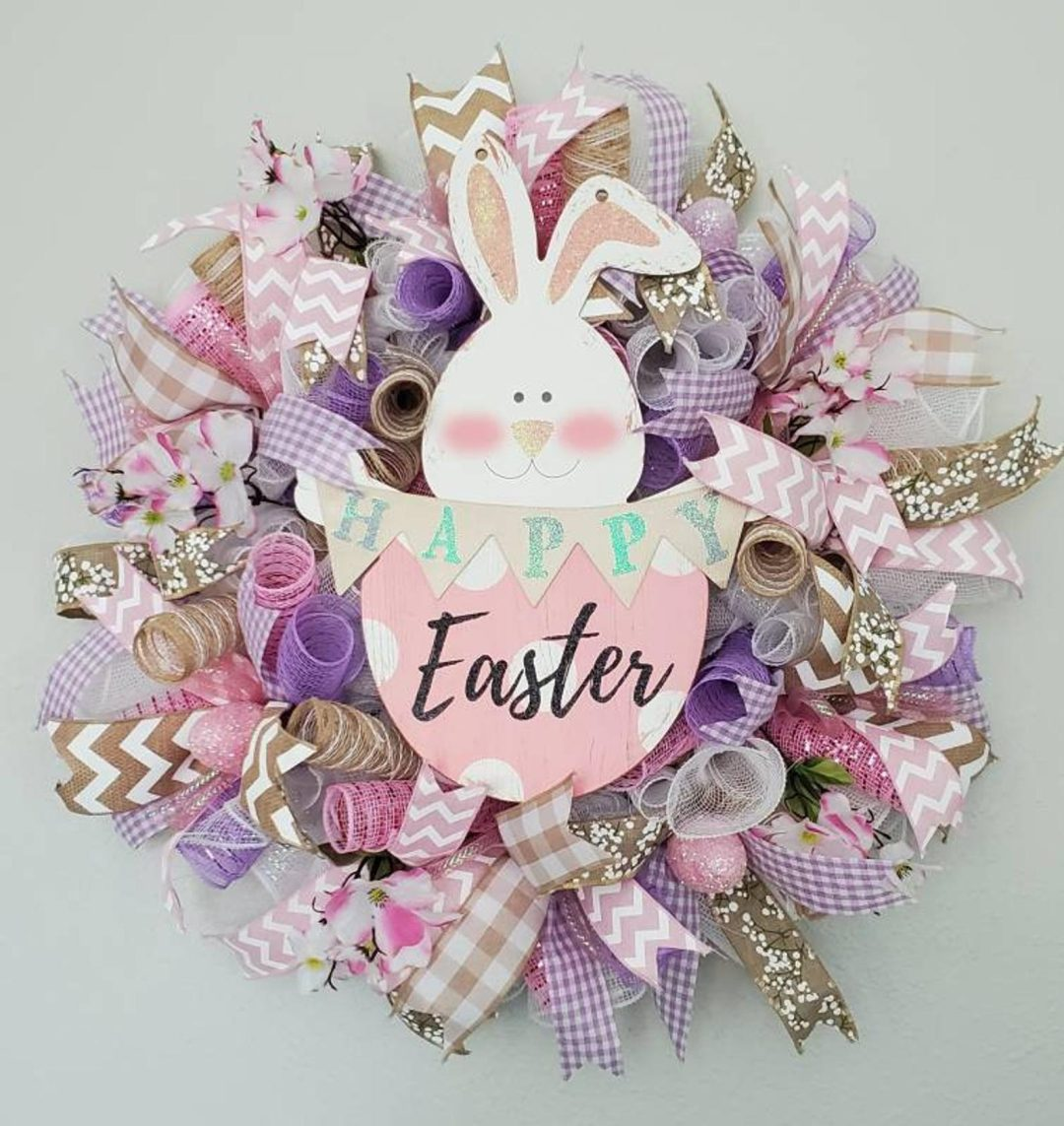 Pink and purple deco mesh Easter wreath