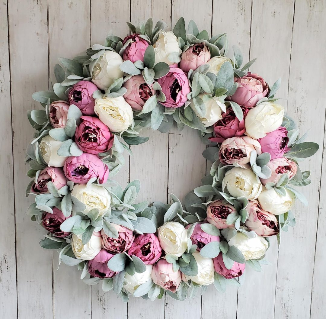 Elegant peony wreath for spring