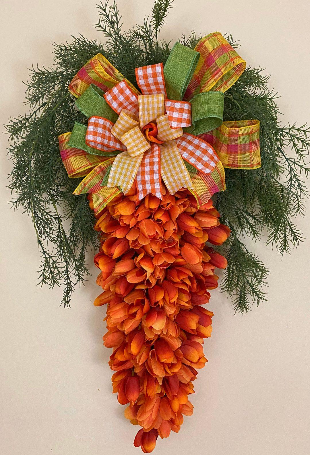 Orange carrot wreath with tulips