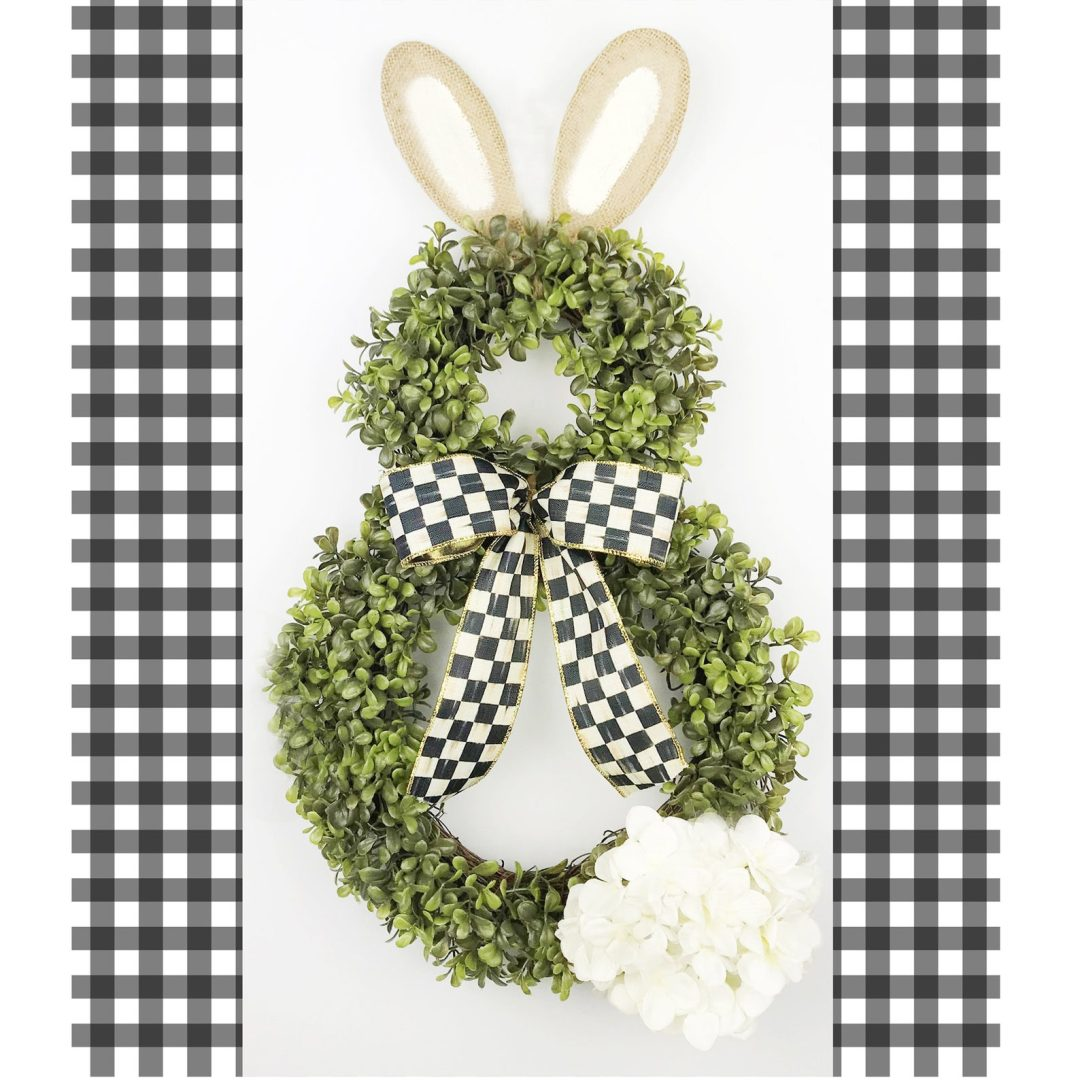 Boxwood bunny wreath with ribbon