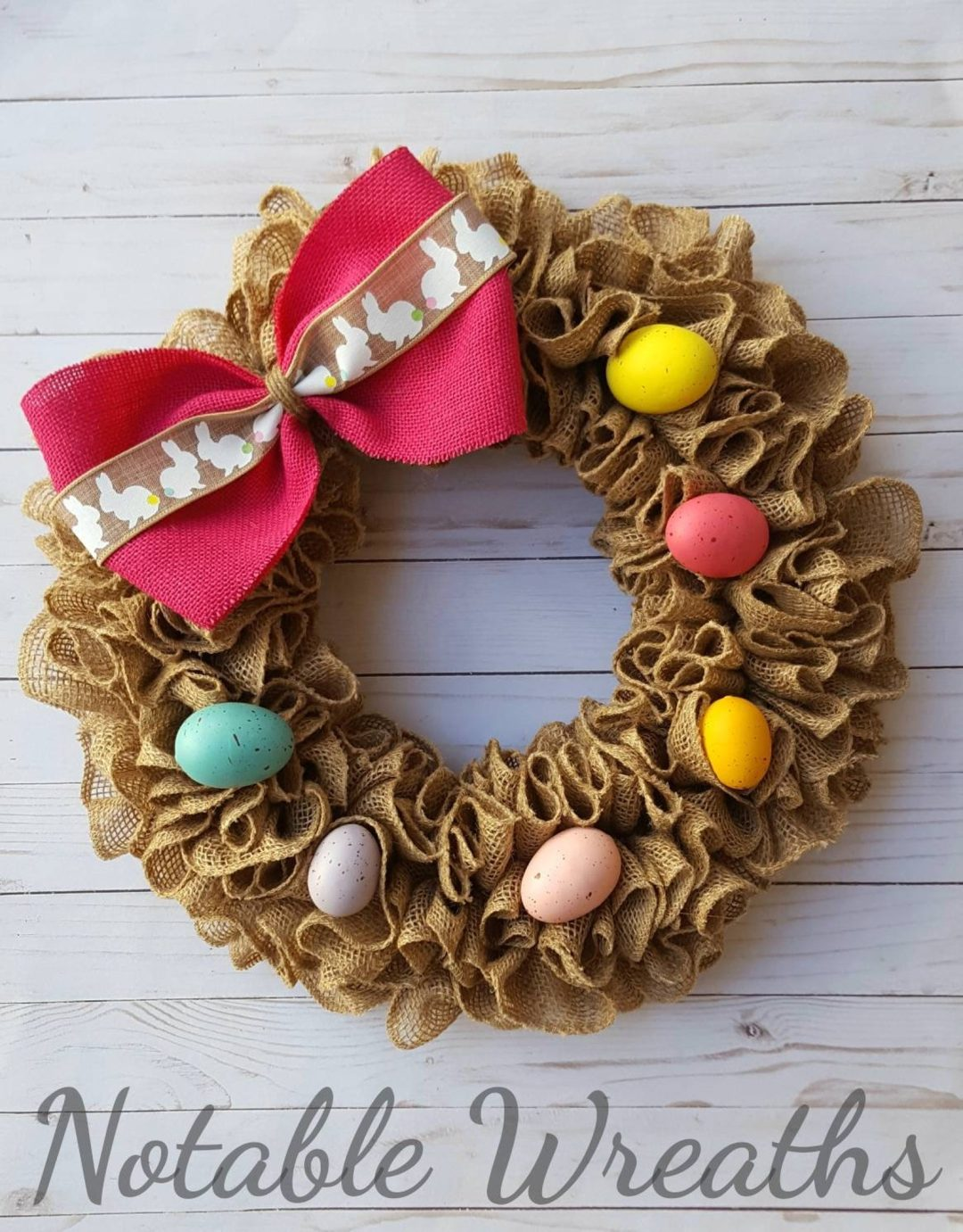 Burlap Easter wreaths with eggs