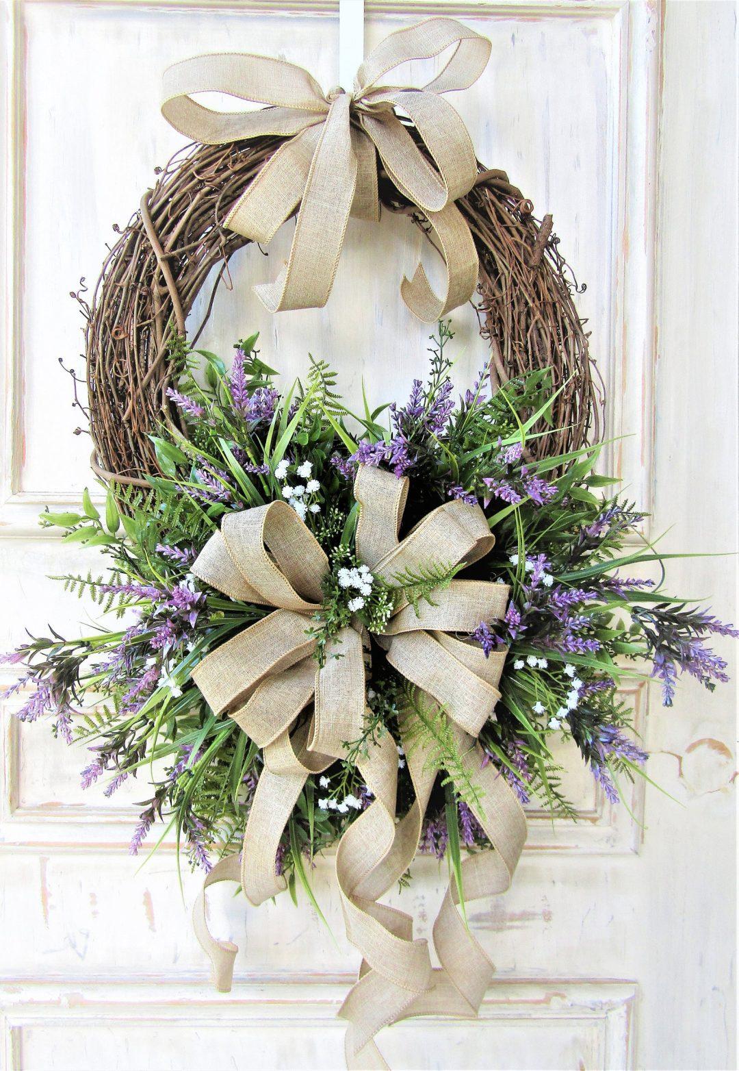 Elegant grapevine Easter wreath in egg shape - egg wreath