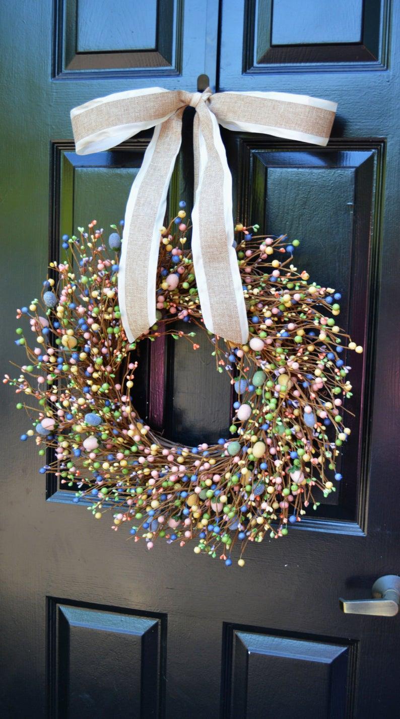 Elegant berry wreath for Easter