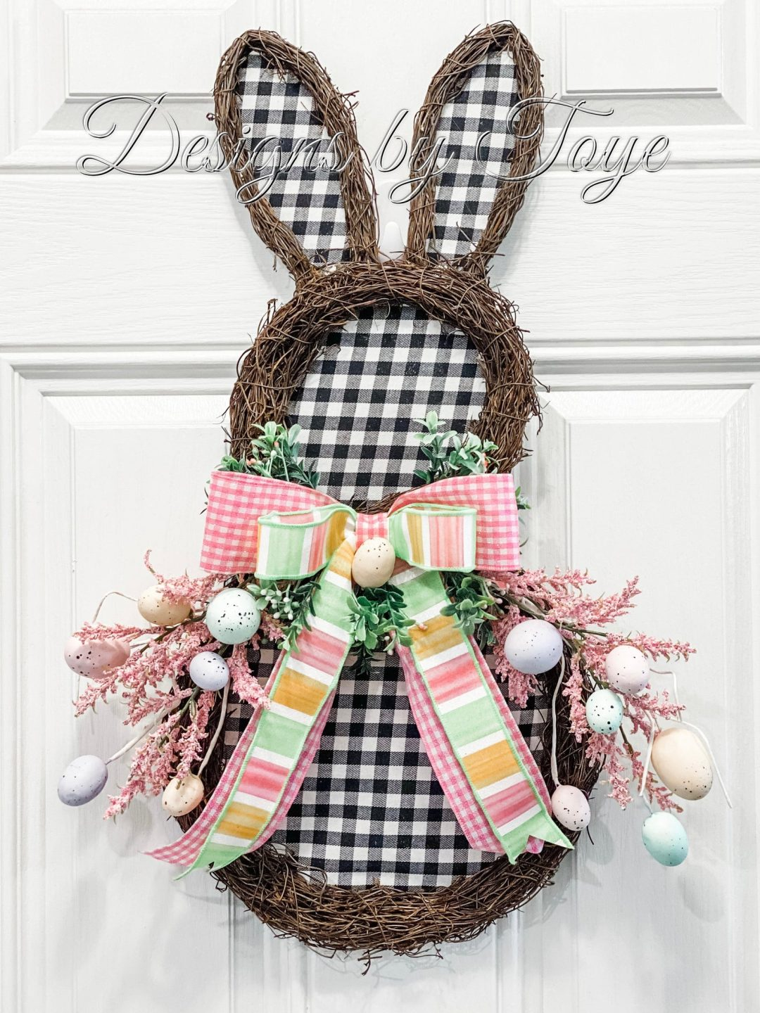 Gingham bunny wreath with eggs and ribbon