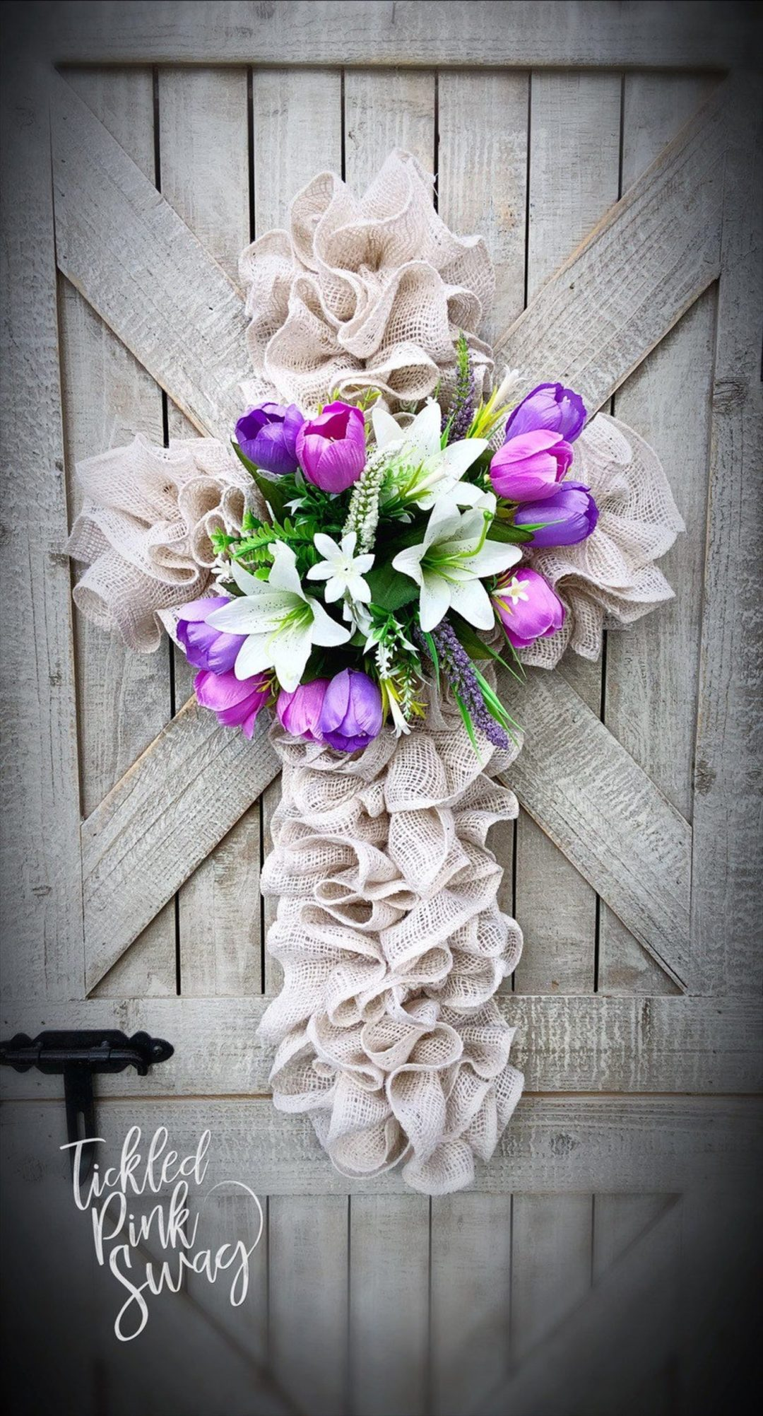 Burlap Easter wreaths with cross and flowers