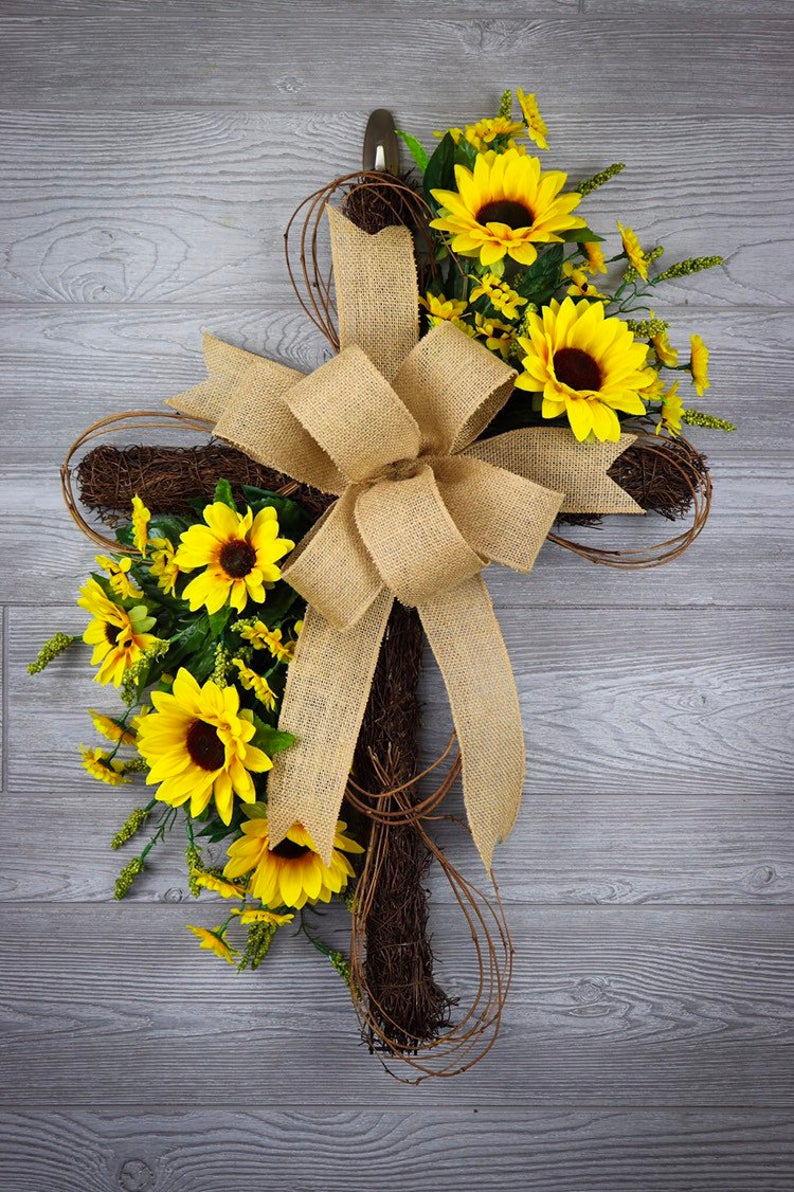 Sunflower Easter wreaths with cross - cross wreath with flowers