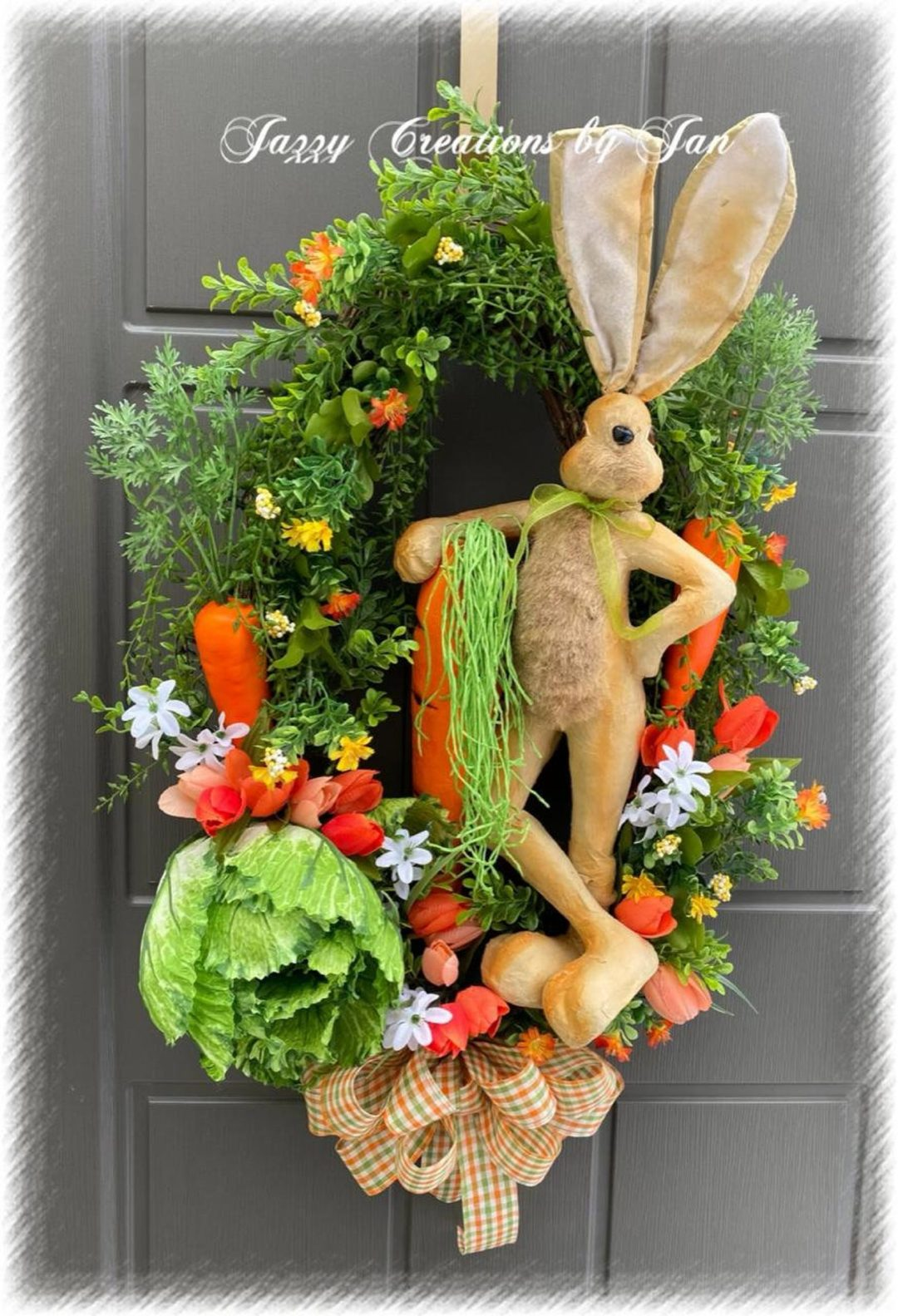 Easter bunny wreath with carrots and cabbage
