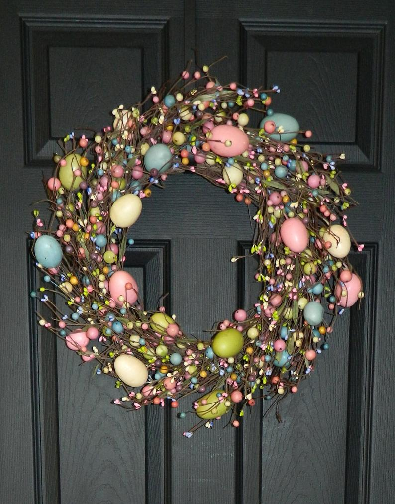 Colorful Easter wreaths with eggs