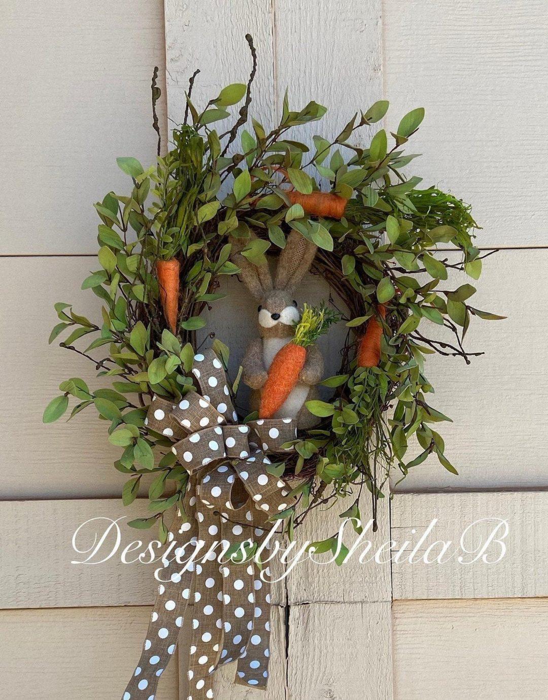 Bunny wreath with carrots