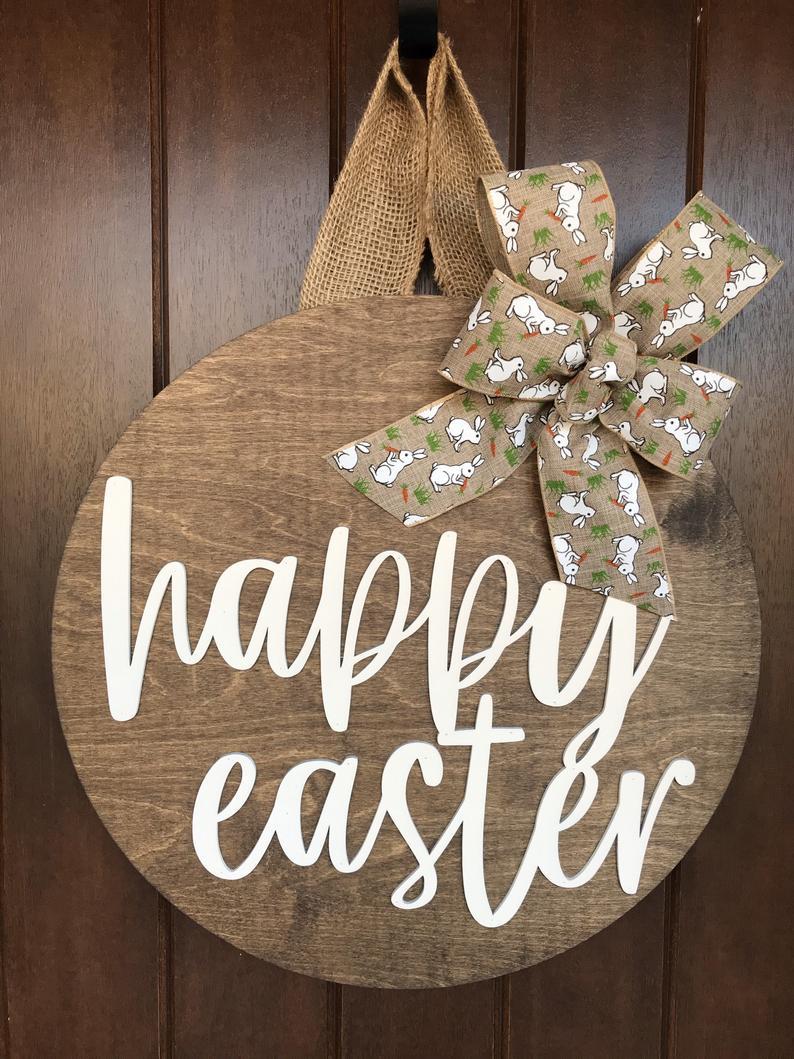 Wooden Easter sign, wood Easter door hanger