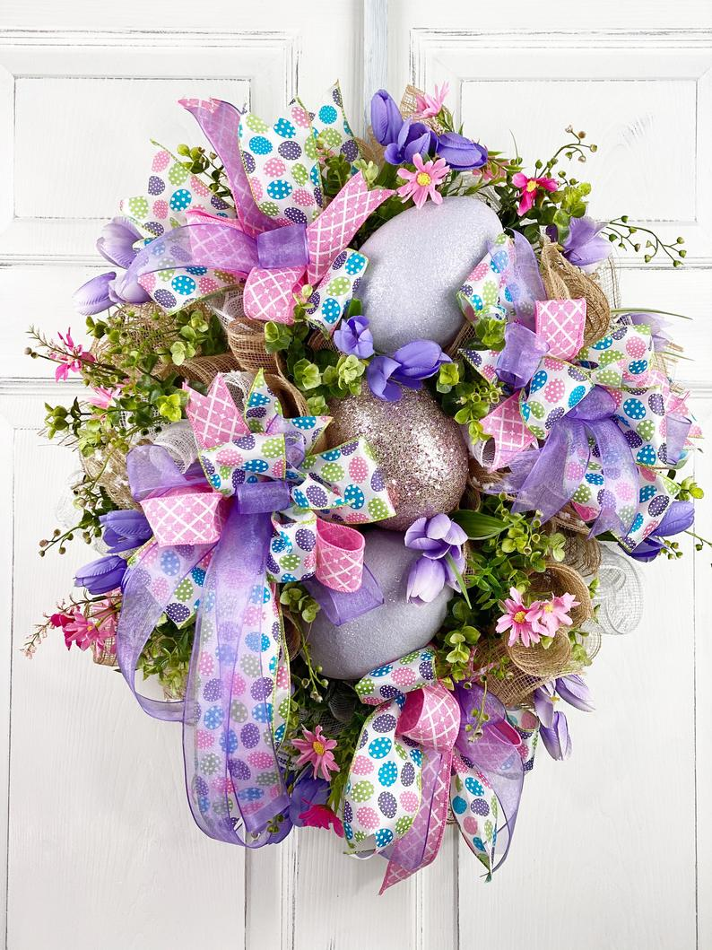 Purple deco mesh Easter wreath with eggs