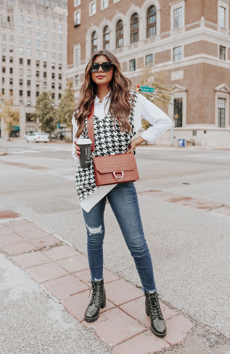 Cute black and white houndstooth sweater vest outfit for fall
