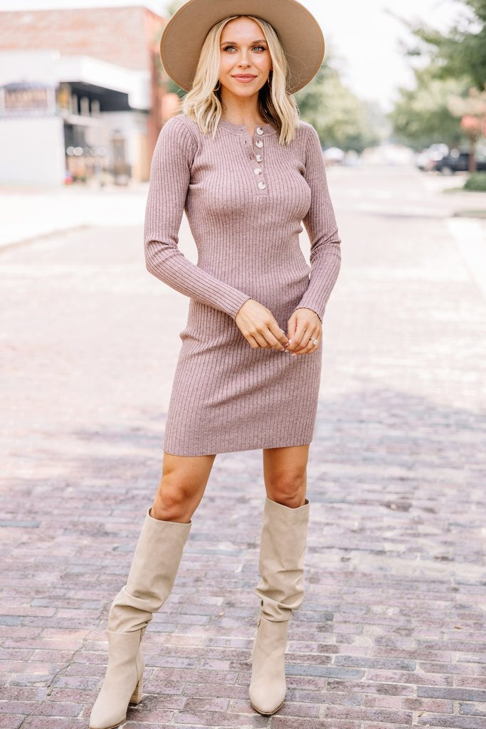 Cute sweater dress with beige knee high boots
