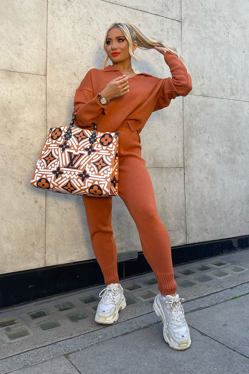 Matching burnt orange knit set with top and joggers