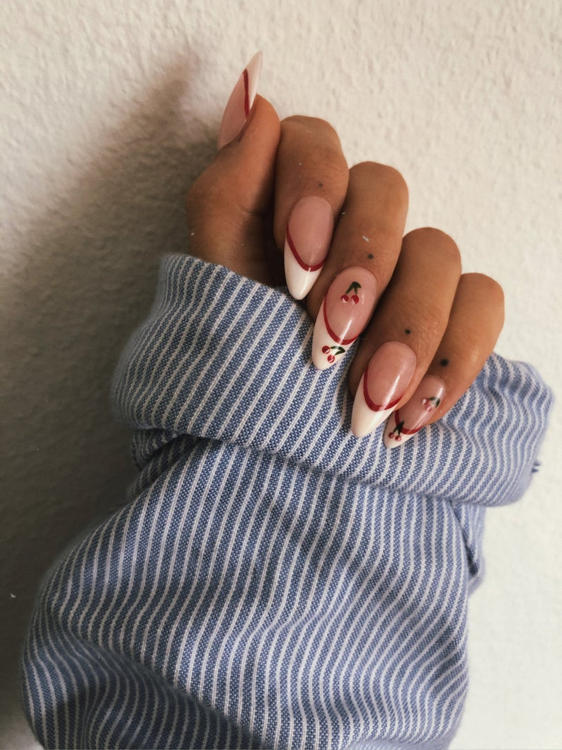 French tip nail art with cherries
