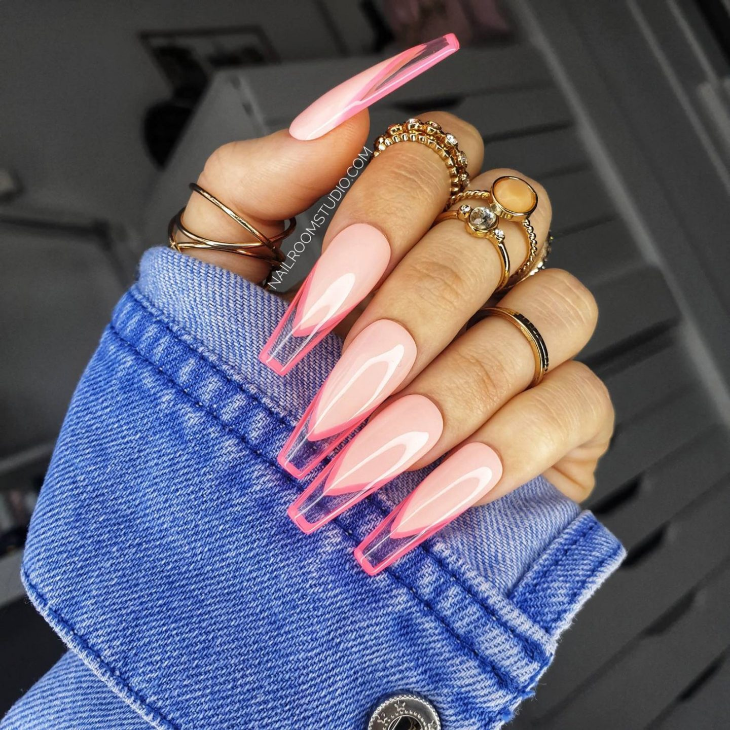Neon pink French tip nails