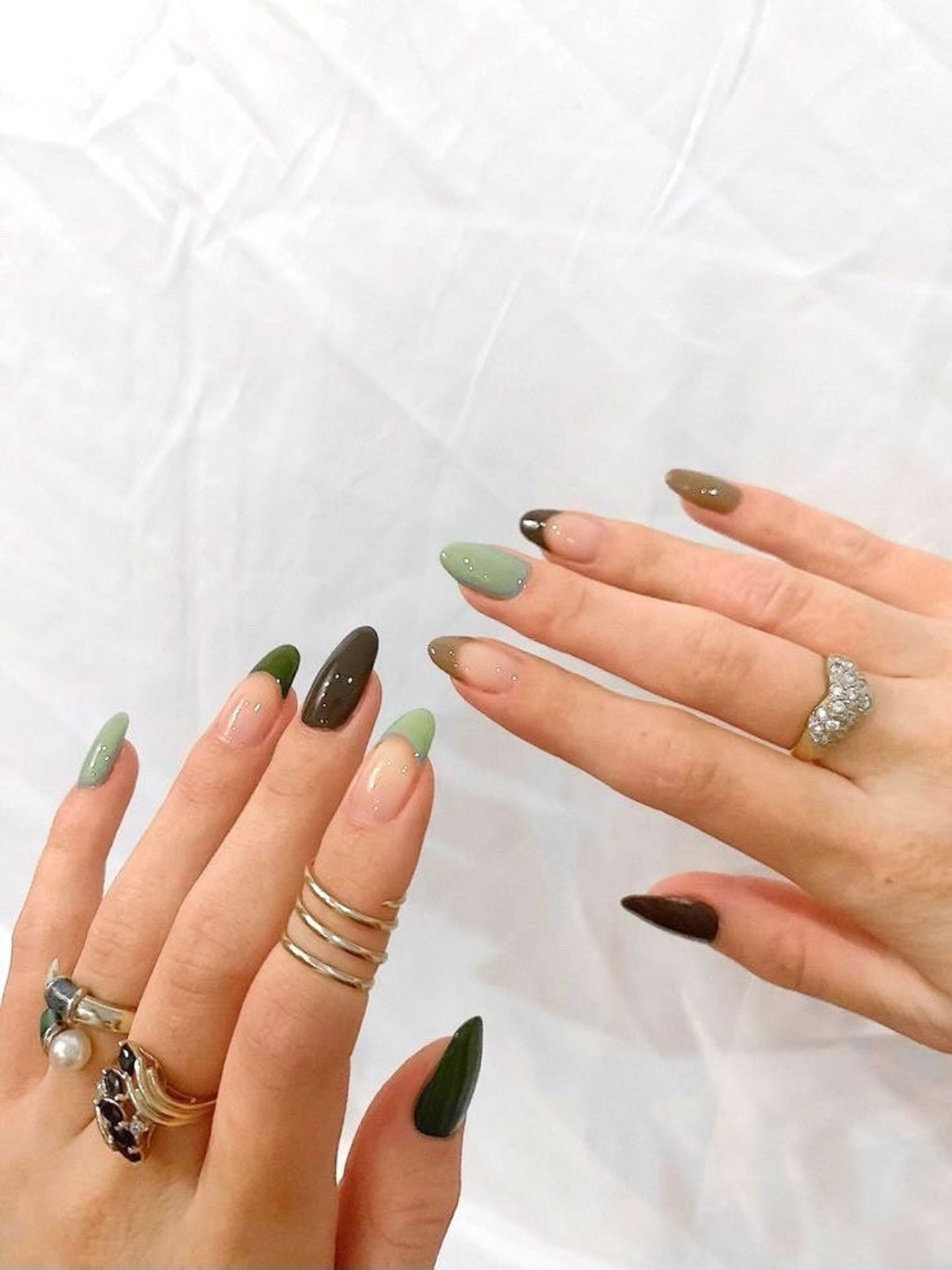 Sage green and brown French tip nails