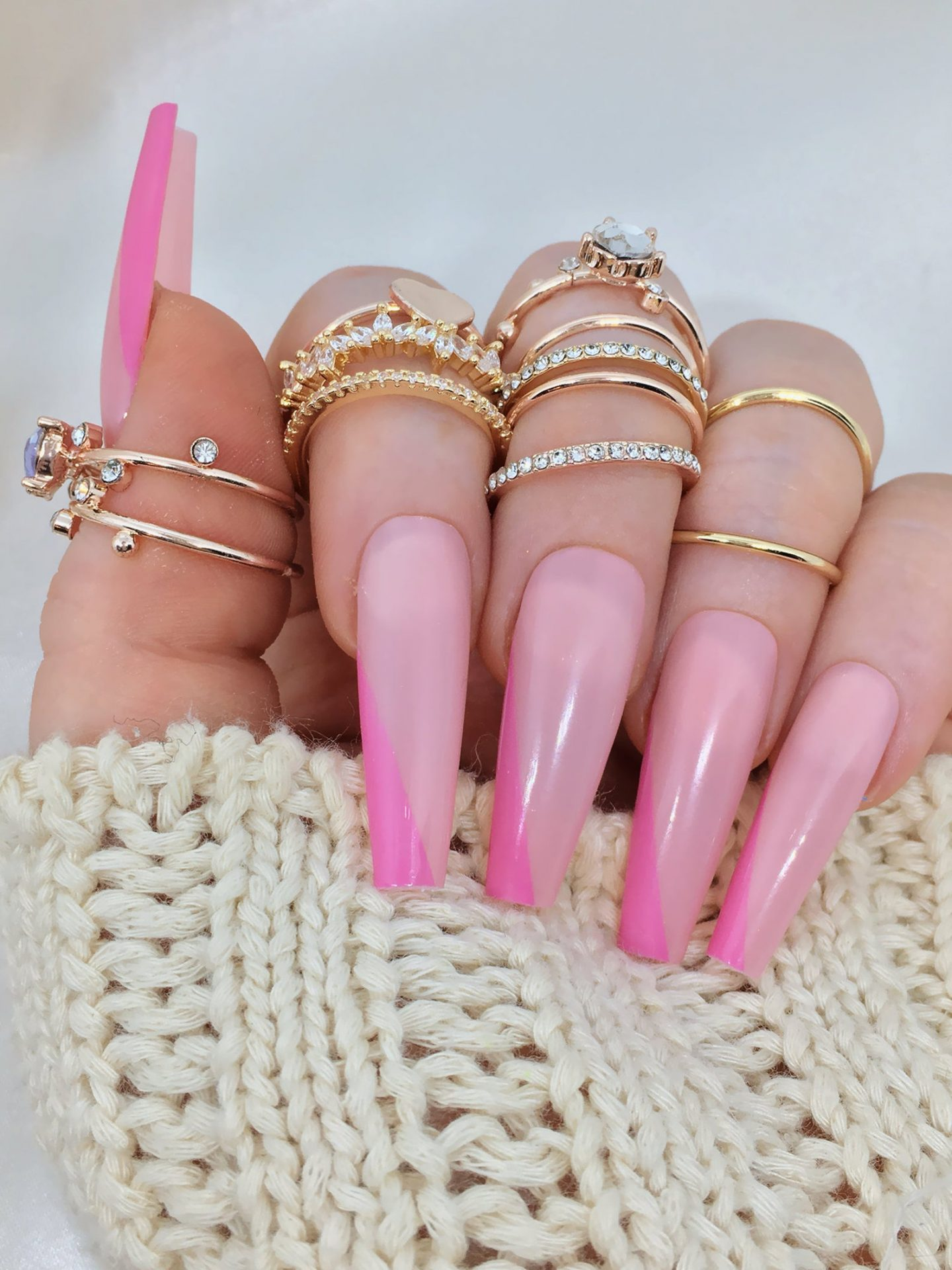 Hot pink French tip coffin nails