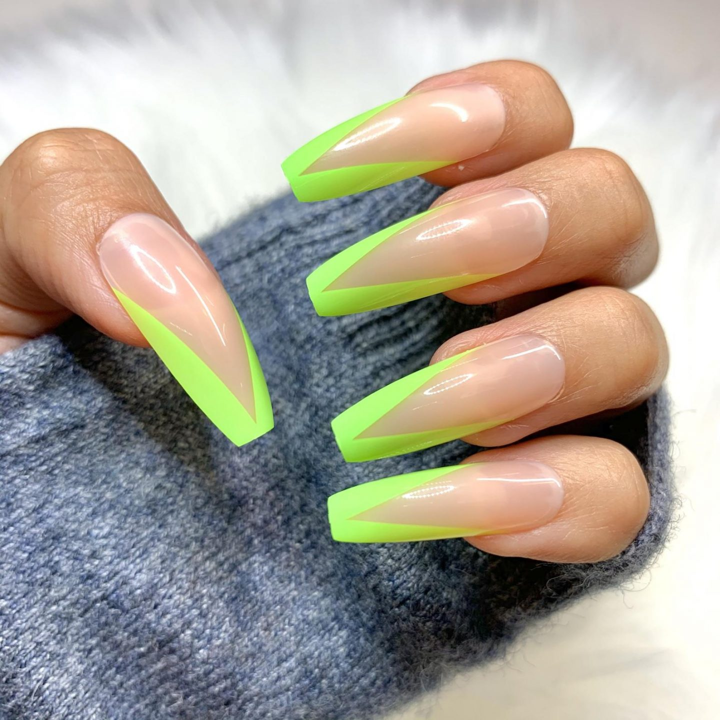 Neon green French tip nails in coffin shape