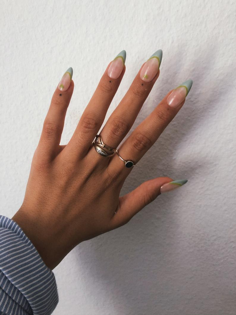 Sage green almond French nails