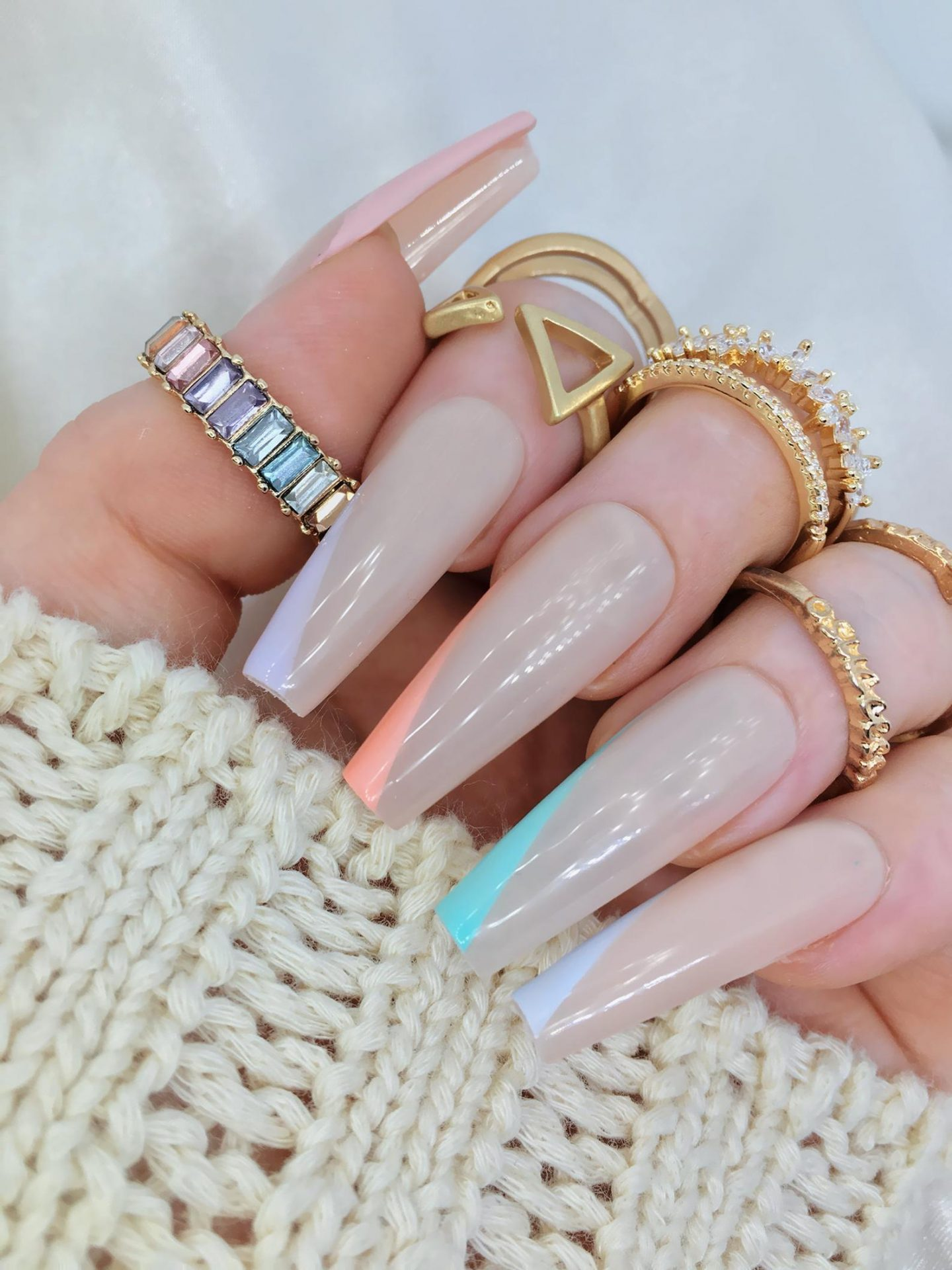 Cute minimal pastel French tip coffin nails