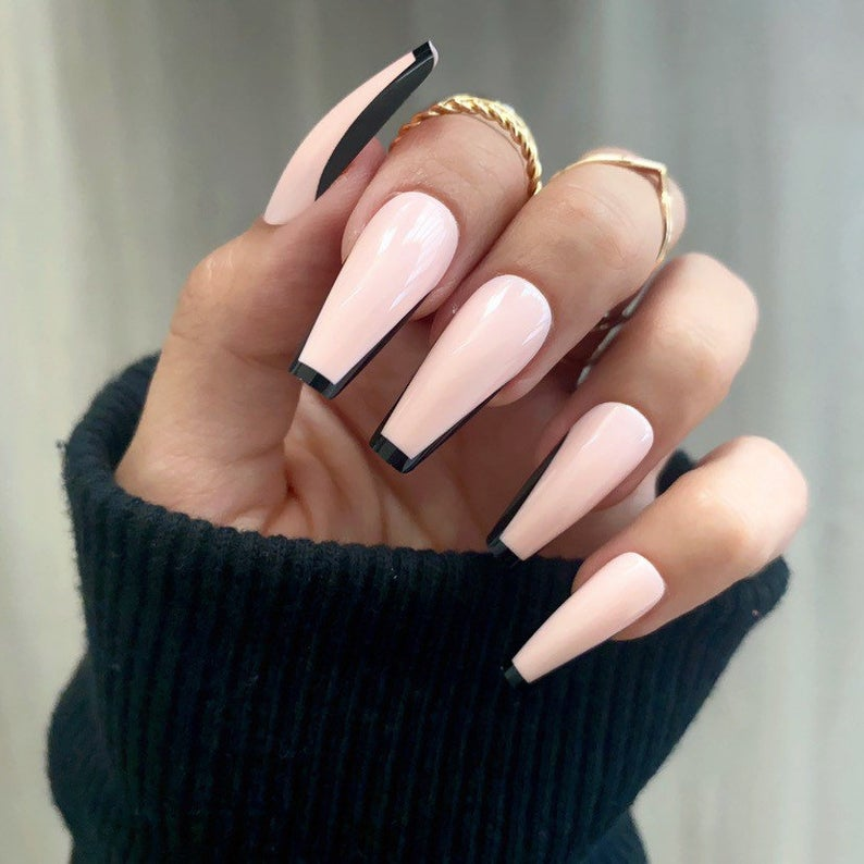 Pink and black French tip coffin nails