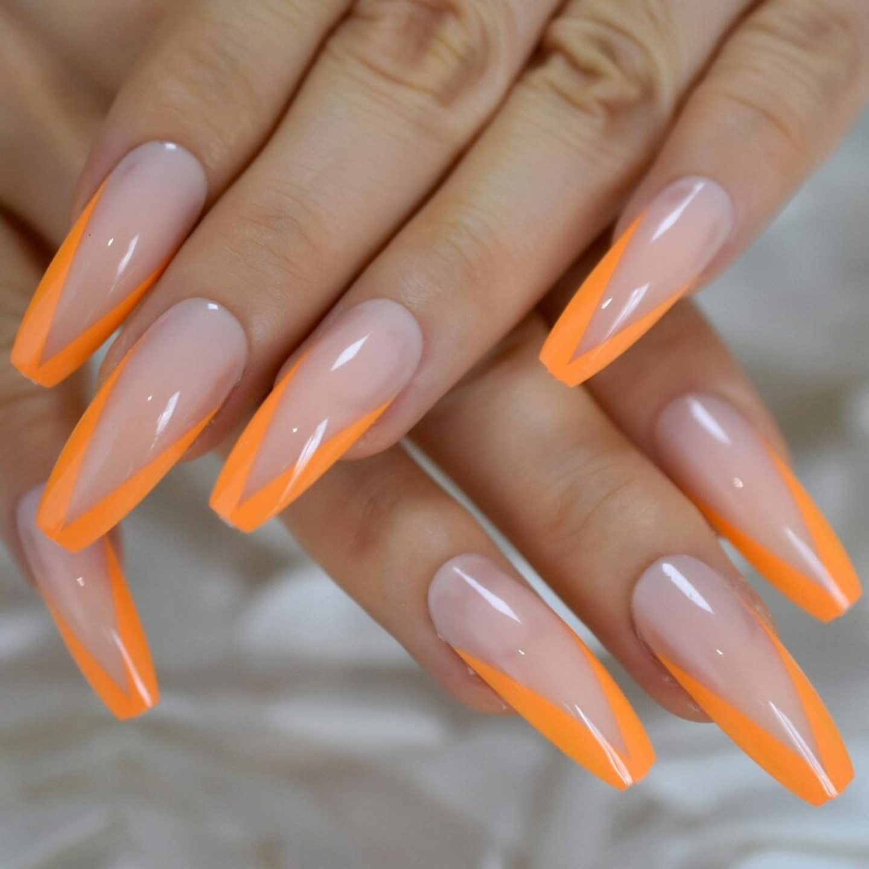Long orange French tip coffin nails